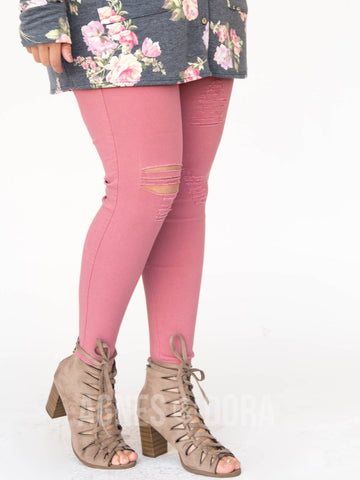 Agnes & Dora™ Jeggings Distressed Dusty Rose