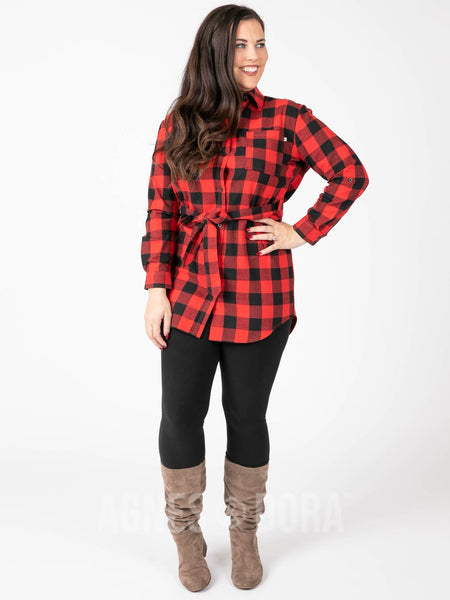 Flannel Tunic Buffalo Check - Red/Black