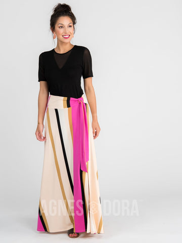 Wrap Maxi Skirt Vintage Stripe