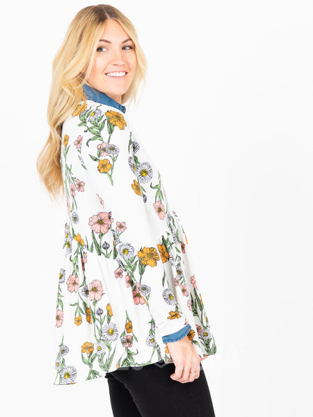 Muse Top Long Sleeve Ivory/Coral Floral