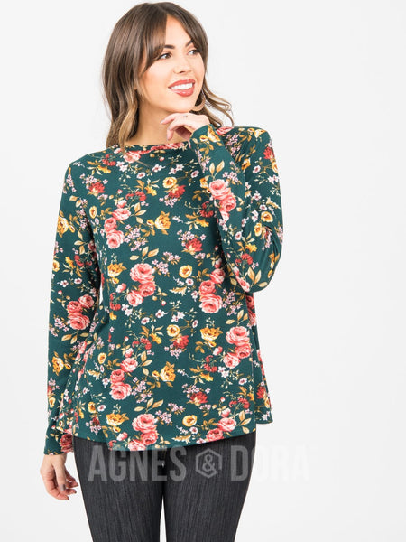 Agnes & Dora™ Cross Over Sweater Teal Floral
