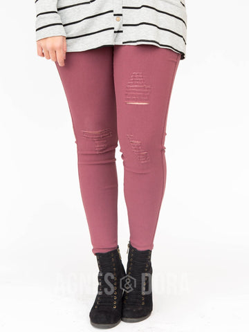 Agnes & Dora™ Jeggings Distressed Venetian Red