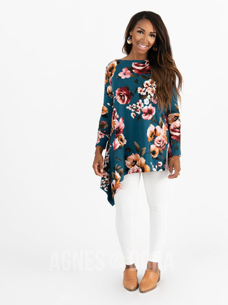Agnes & Dora™ Asymmetrical Tunic Baby Suede Teal Based Floral Long Sleeve