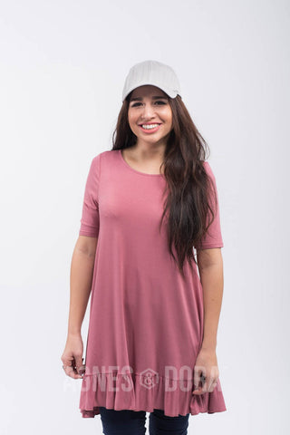 Ruffle Tunic in Soft Mauve