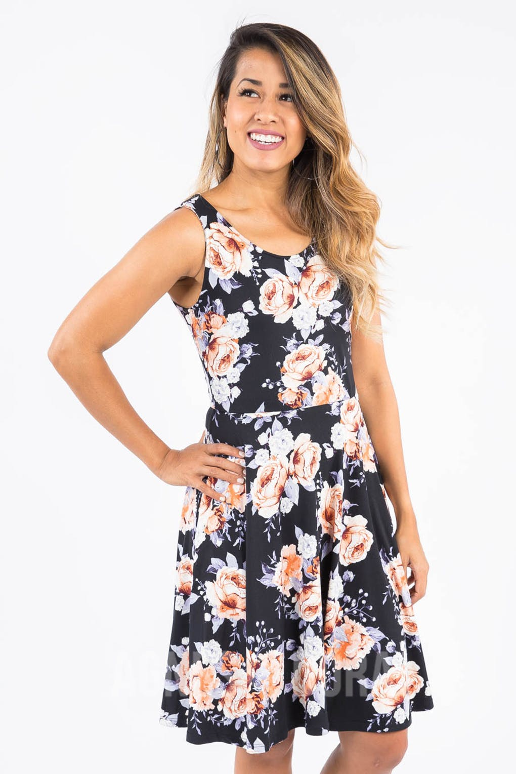 Fit & Flare Dress For the Love Black and Blush
