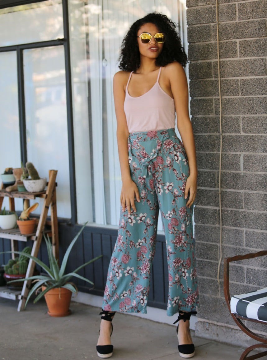 Wide Leg Pants Self Tie Waist