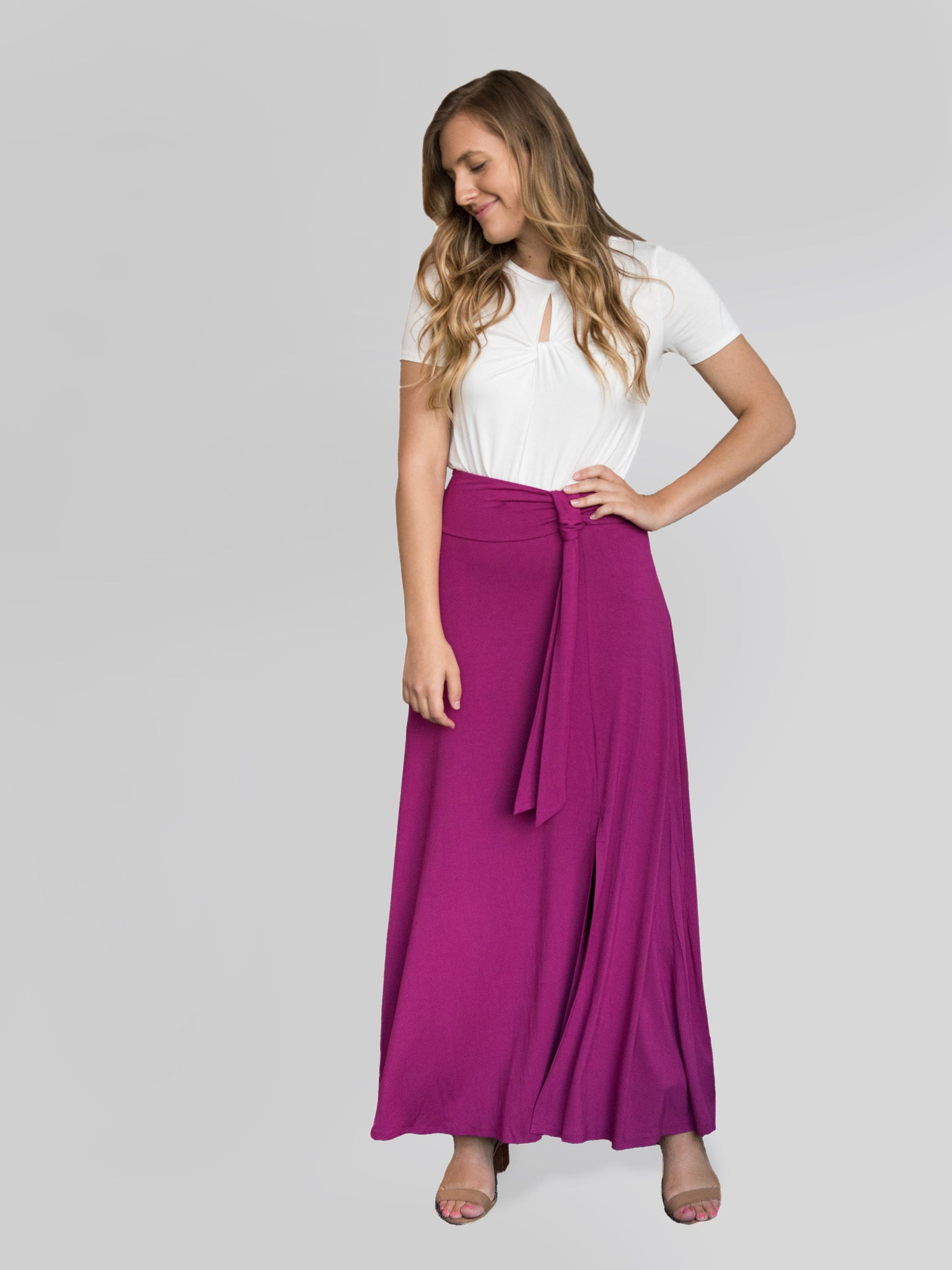 Agnes & Dora™ Wrap Maxi Skirt Wine