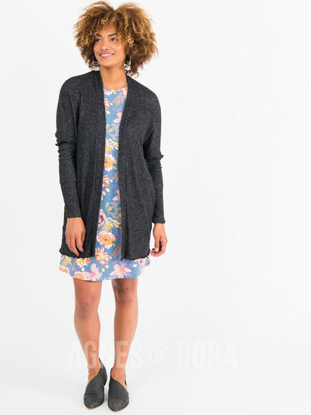Open Front Thumbhole Cardi Black/White
