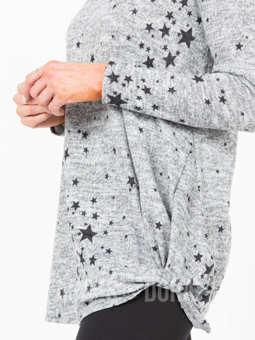 Agnes & Dora™ Side Knot Tunic Hacci Heathery Grey/Black Stars