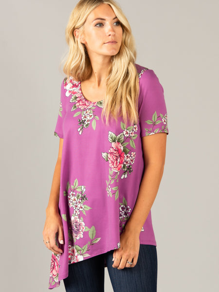 Asymmetrical Top Scoop Neck Lilac Floral