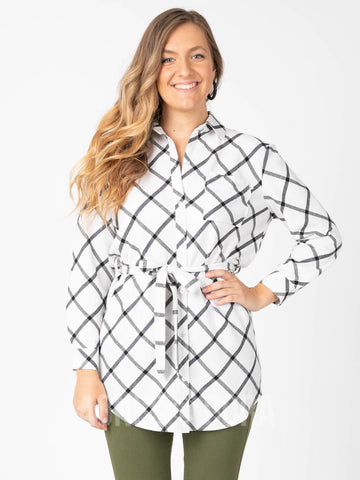 Agnes & Dora™ Flannel Tunic Windowpane - Ivory/Black