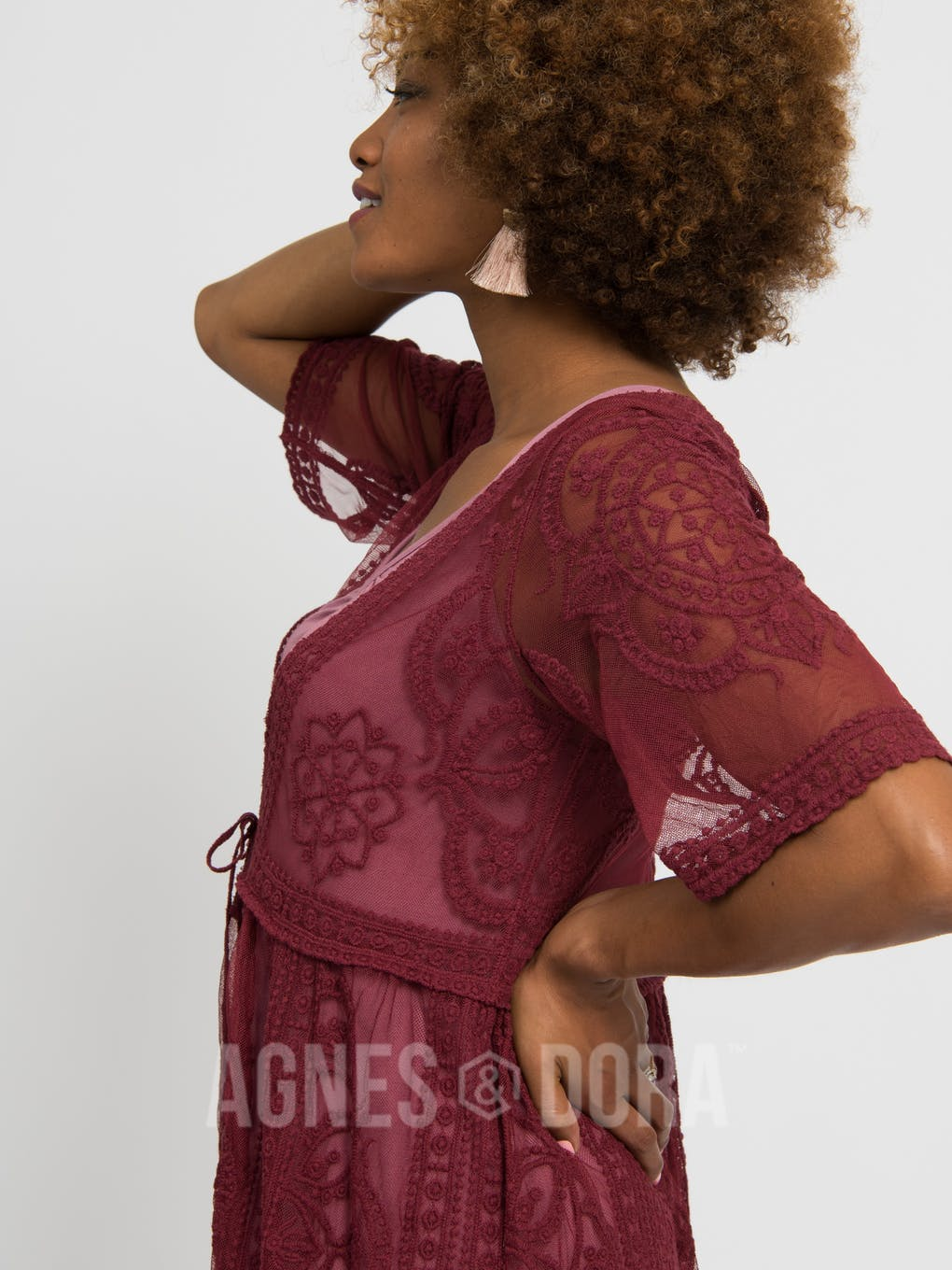 Agnes & Dora™ Vintage Lace Duster Black Cherry