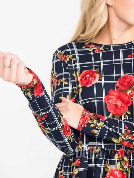 Agnes & Dora™ Relaxed Ruffle Tee Long Sleeve Navy (Floral Grid)