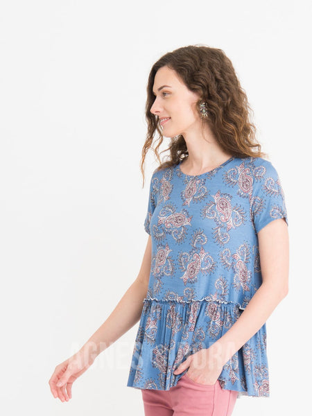 Relaxed Ruffle Tee Summer Blues