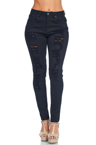 Destroyed Denim Skinny Pants Black