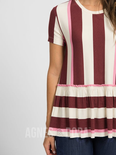 Agnes & Dora™ Relaxed Ruffle Tee Hello Fall Stripe - Black Cherry