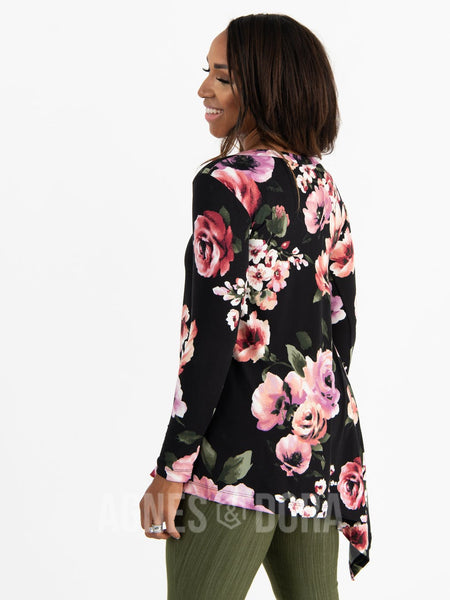 Asymmetrical Tunic Baby Suede Black Berry Floral Long Sleeve
