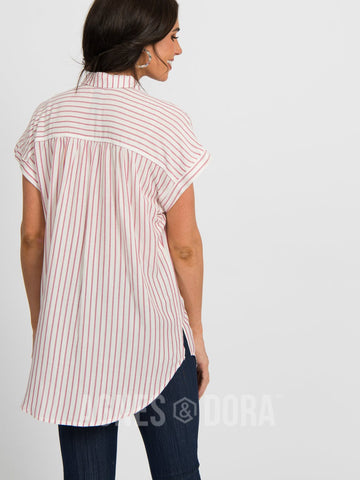 Agnes & Dora™ Button Down Cuff Sleeve Raspberry Stripe