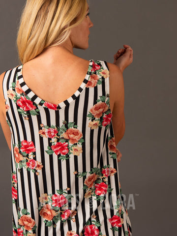 Agnes & Dora™ Essential Tank Double V-Neck Black/White/Coral Stripe Floral