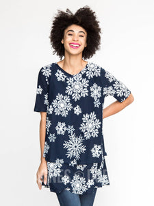 Agnes & Dora™ Tiered Tunic with Half Sleeve Let it Snow Navy Baby Suede