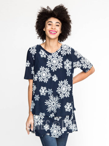 Tiered Tunic with Half Sleeve Let it Snow Navy Baby Suede