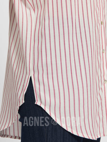 Button Down Cuff Sleeve Raspberry Stripe