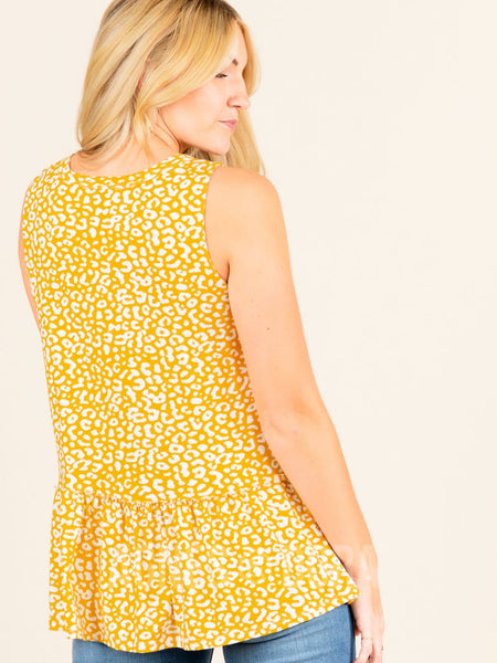 Relaxed Ruffle Tank Mustard Ivory Animal
