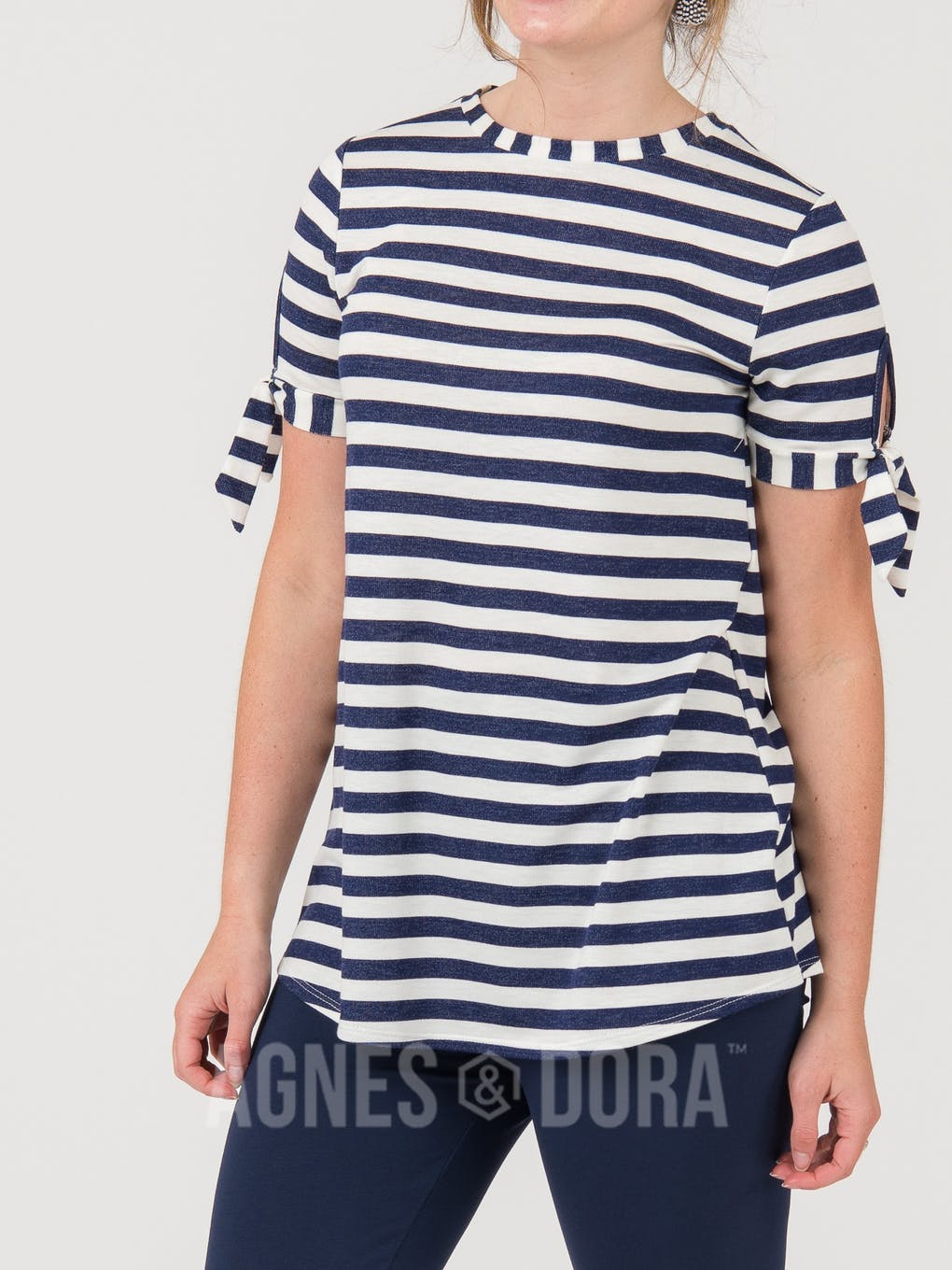 Agnes & Dora™ Tie Sleeve Top Ivory Navy Stripe