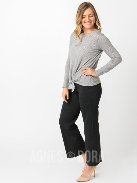 Agnes & Dora™ Tie Front Top Long Sleeve Black Glen Plaid