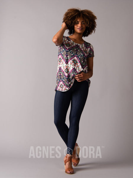 Everyday Tee Scoop Neck Navy/Fuchsia Boho