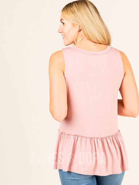 Agnes & Dora™ Relaxed Ruffle Tank Bellini