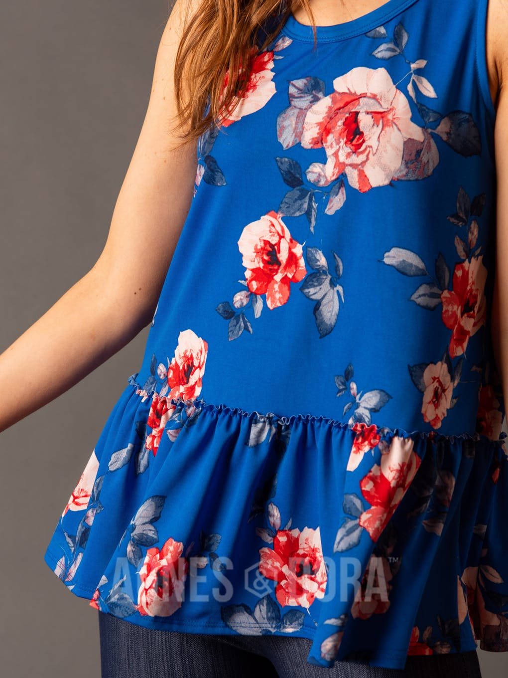 Agnes & Dora™ Relaxed Ruffle Tank Blue/Red Floral