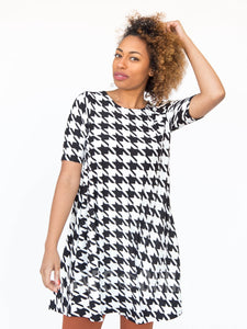 Swing Tunic Black & White Houndstooth