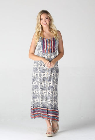 Front Button Maxi Strappy Dress