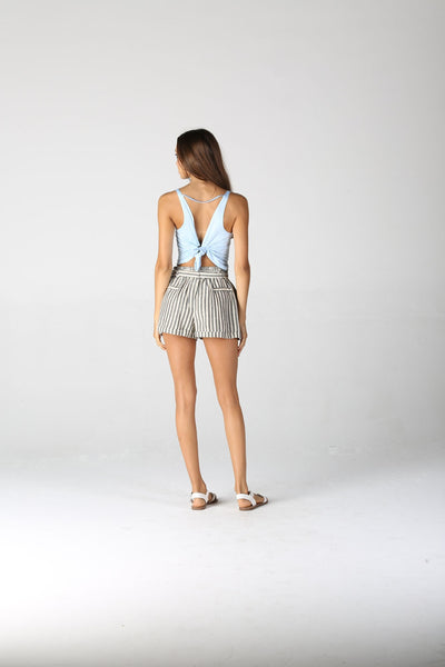 Woven Light Gray Stripe Tie Waist Shorts