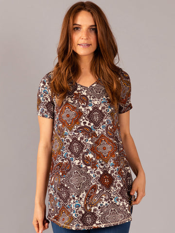 Agnes & Dora™ Everyday Tee V-Neck Brown Boho
