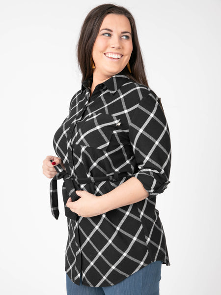 Agnes & Dora™ Flannel Tunic Window Paine Black Ivory