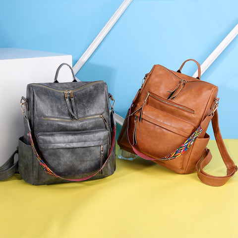 Retro Large Backpack PU Leather w/ Shoulder Strap