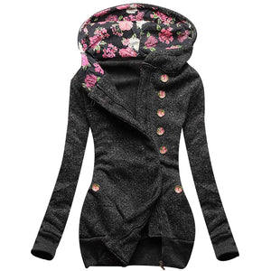 Floral Print Hooded Jacket Grey