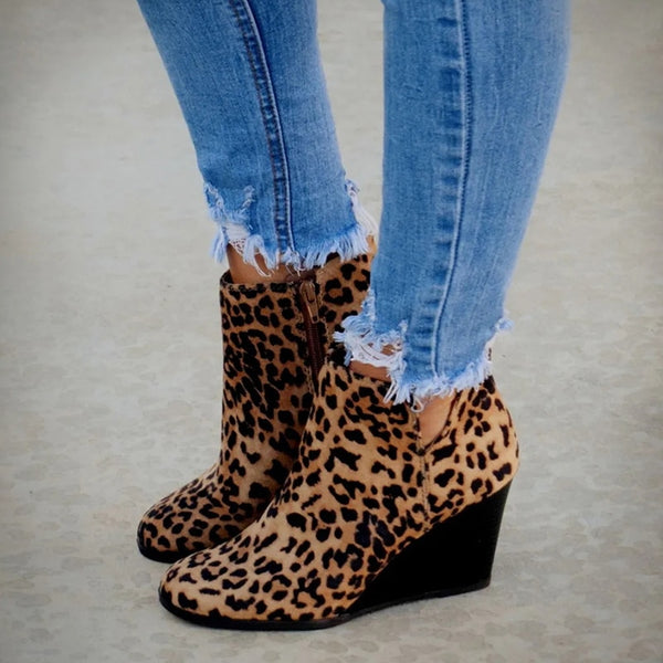 Pointed Toe Booties Tan Black Leopard Ankle Wedge