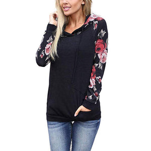 Floral Hooded Sweatshirt Top Black