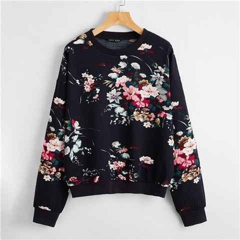 Navy White or Black Drop Shoulder Floral Print Pullover Sweatshirt