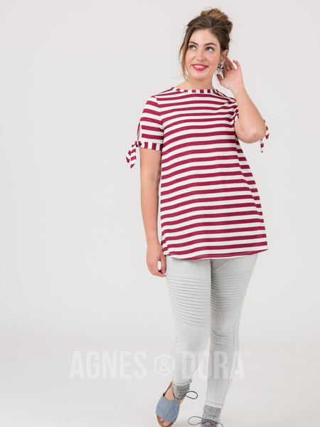 Agnes & Dora™ Tie Sleeve Top Ivory Wine Stripe