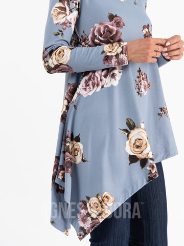 Asymmetrical Tunic Baby Suede Cloud Blue Floral Long Sleeve
