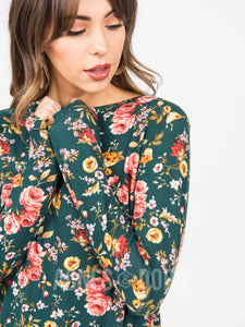 Cross Over Sweater Teal Floral