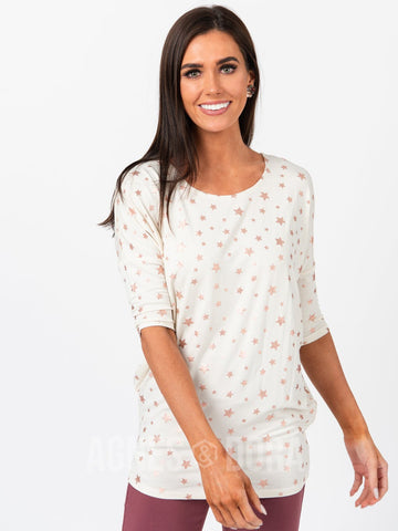 Agnes & Dora™ Dolman Tunic Cream W/ Rose Gold Metallic Stars