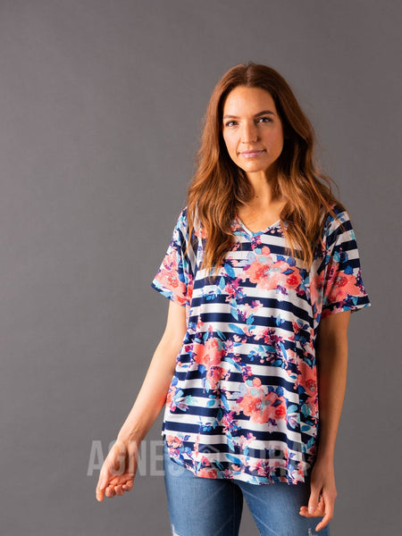 Love Top Navy/Blush Stripe Floral