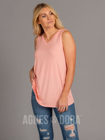 Agnes & Dora™ Essential Tank - V-Neck Peach