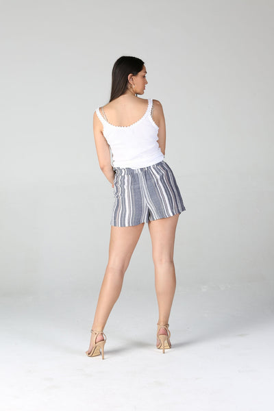 Woven Gray Stripe Shirred Waist Shorts