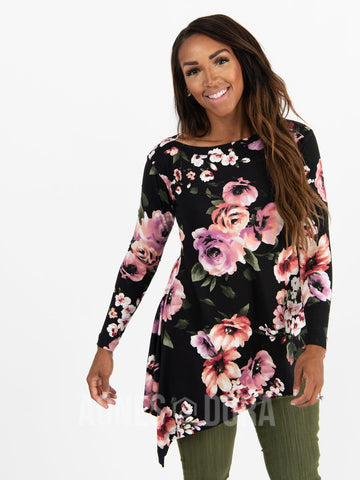 Agnes & Dora™ Asymmetrical Tunic Baby Suede Black Berry Floral Long Sleeve